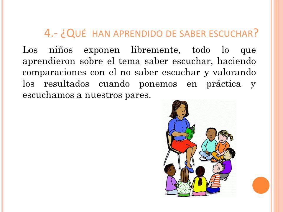 4.- ¿Q UÉ HAN APRENDIDO DE SABER ESCUCHAR ? Los niños exponen libremente, todo lo que aprendieron sobre el tema saber escuchar, haciendo comparaciones