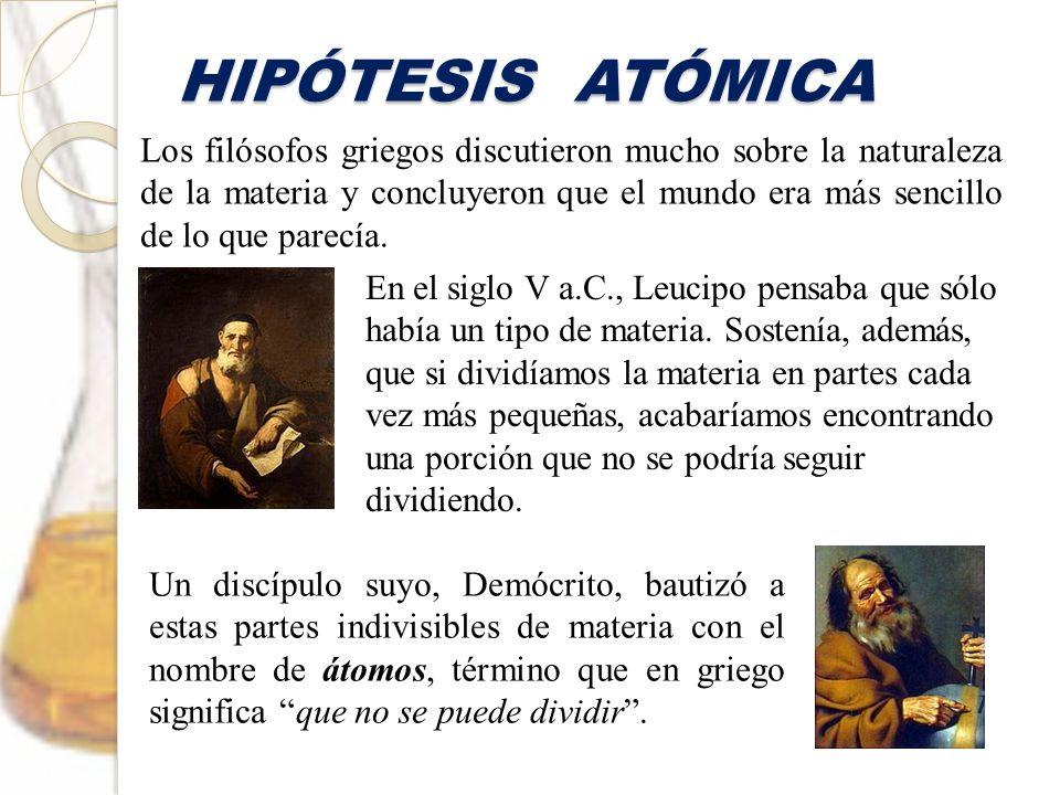 HIPÓTESIS ATÓMICA Los filósofos griegos discutieron mucho sobre la naturaleza de la materia y concluyeron que el mundo era más sencillo de lo que pare