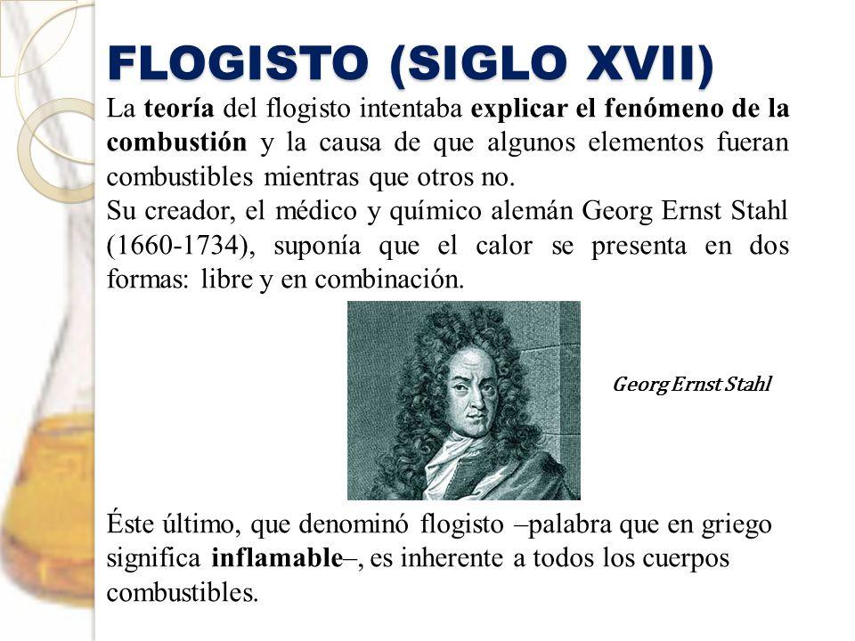 FLOGISTO (SIGLO XVII) La teoría del flogisto intentaba explicar el fenómeno de la combustión y la causa de que algunos elementos fueran combustibles m