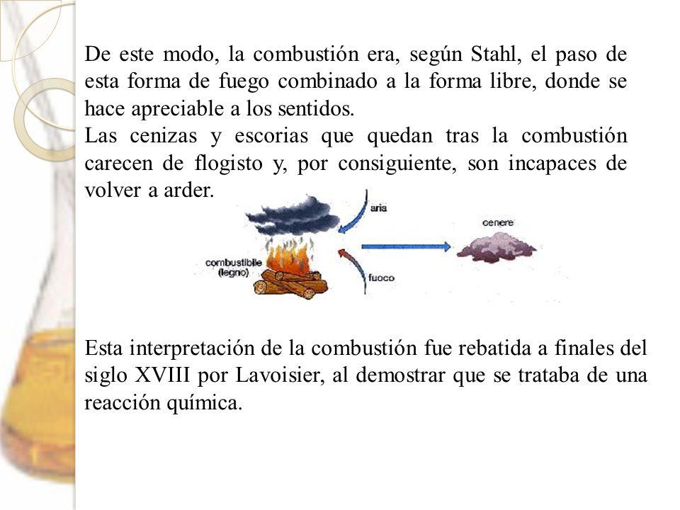 De este modo, la combustión era, según Stahl, el paso de esta forma de fuego combinado a la forma libre, donde se hace apreciable a los sentidos. Las