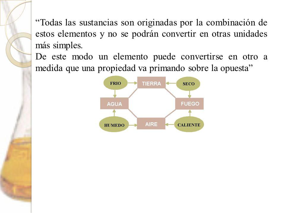 Todas las sustancias son originadas por la combinación de estos elementos y no se podrán convertir en otras unidades más simples. De este modo un elem
