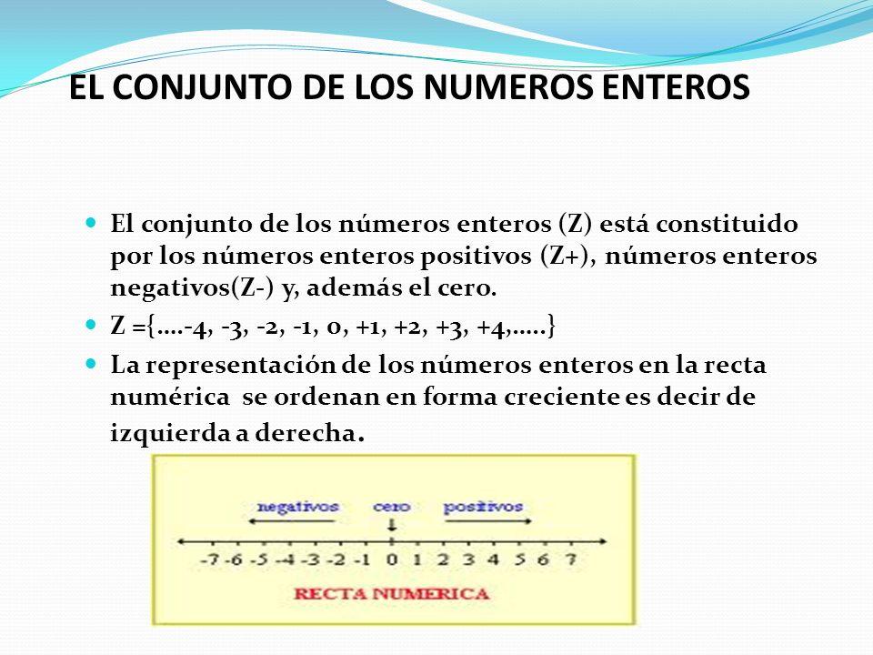 EL CONJUNTO DE LOS NUMEROS ENTEROS El conjunto de los números enteros (Z) está constituido por los números enteros positivos (Z+), números enteros neg