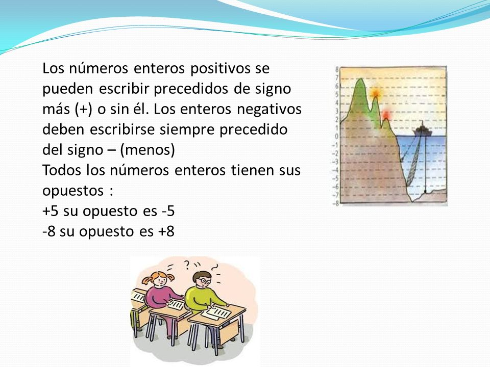 Los números enteros positivos se pueden escribir precedidos de signo más (+) o sin él. Los enteros negativos deben escribirse siempre precedido del si