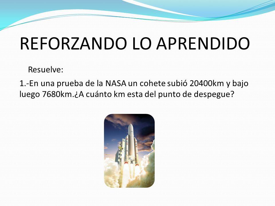 REFORZANDO LO APRENDIDO Resuelve: 1.-En una prueba de la NASA un cohete subió 20400km y bajo luego 7680km.¿A cuánto km esta del punto de despegue?