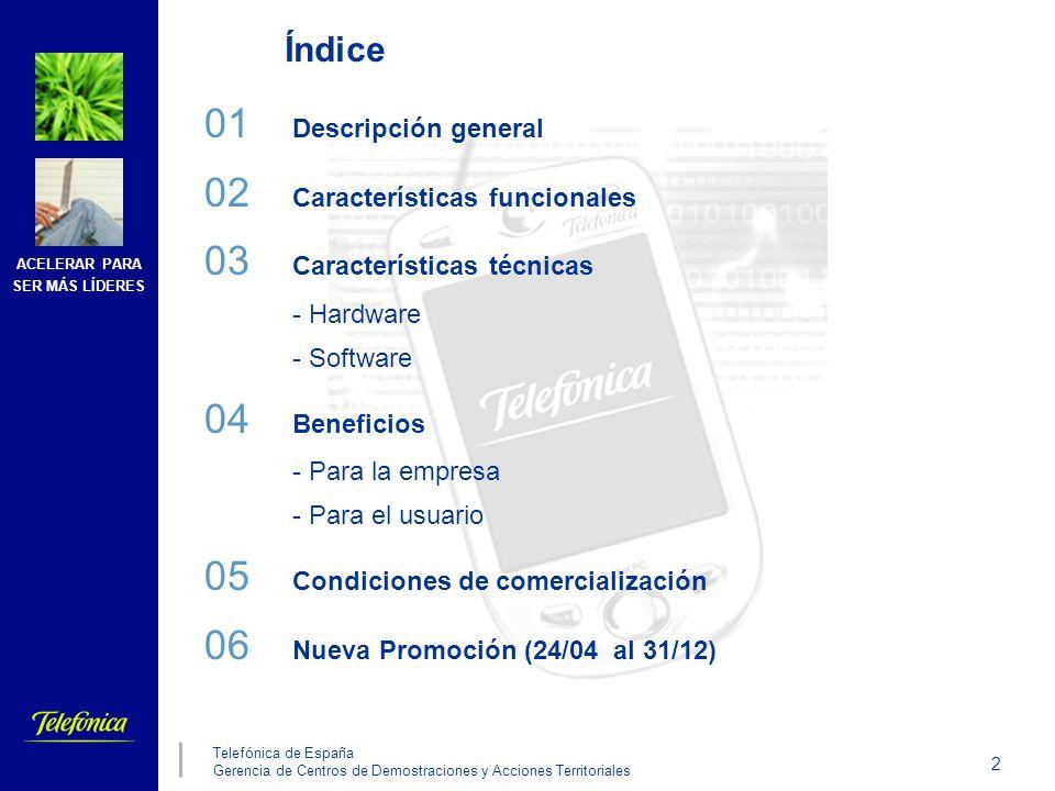 ACELERAR PARA SER MÁS LÍDERES 2 Telefónica de España Gerencia de Centros de Demostraciones y Acciones Territoriales Índice 01 Descripción general 02 C