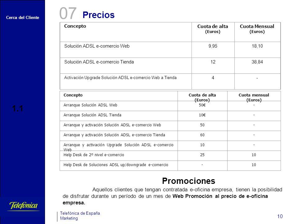 Cerca del Cliente Telefónica de España Marketing 10 Concepto Cuota de alta (Euros) Cuota Mensual (Euros) Solución ADSL e-comercio Web9,9518,10 Solució