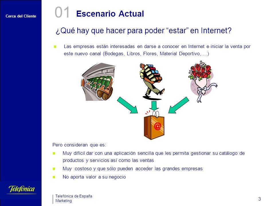 Cerca del Cliente Telefónica de España Marketing 3 Escenario Actual ¿Qué hay que hacer para poder estar en Internet? 01 Las empresas están interesadas