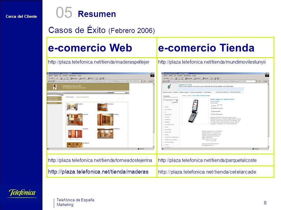 Cerca del Cliente Telefónica de España Marketing 8 Resumen 05 Casos de Éxito (Febrero 2006) e-comercio Webe-comercio Tienda http://plaza.telefonica.ne