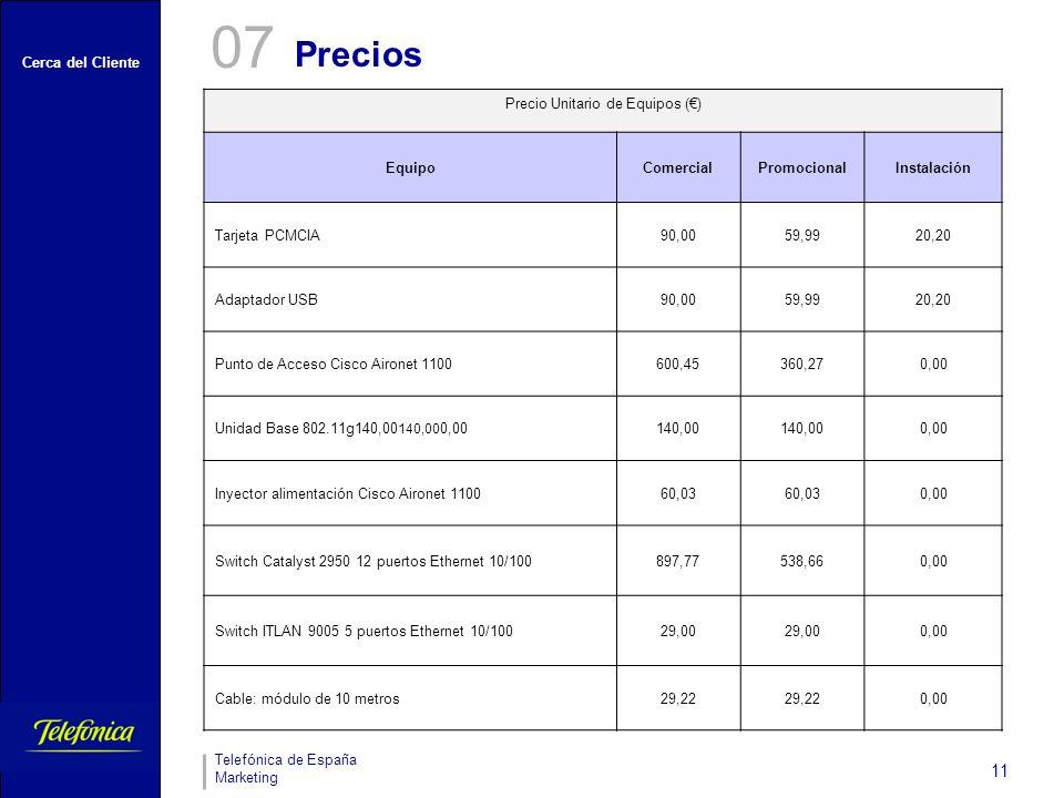 Cerca del Cliente Telefónica de España Marketing 11 Precio Unitario de Equipos () EquipoComercialPromocionalInstalación Tarjeta PCMCIA90,0059,9920,20 Adaptador USB90,0059,9920,20 Punto de Acceso Cisco Aironet 1100600,45360,270,00 Unidad Base 802.11g140,00 140,00 0,00140,00 0,00 Inyector alimentación Cisco Aironet 110060,03 0,00 Switch Catalyst 2950 12 puertos Ethernet 10/100897,77538,660,00 Switch ITLAN 9005 5 puertos Ethernet 10/10029,00 0,00 Cable: módulo de 10 metros29,22 0,00 Precios 07