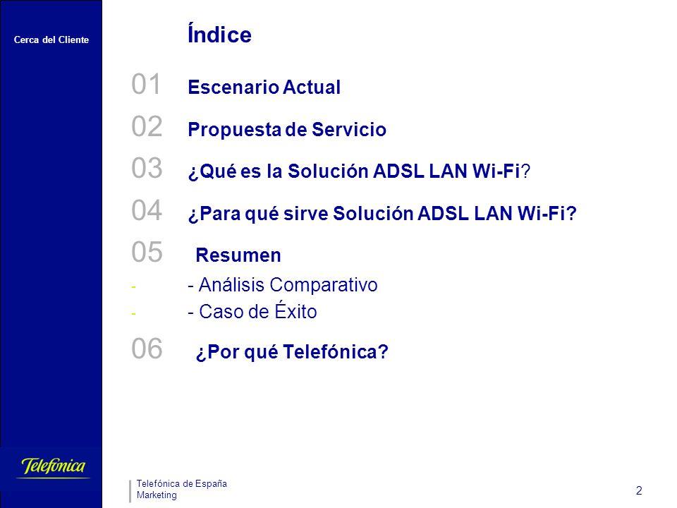 Cerca del Cliente Telefónica de España Marketing 2 Índice 01 Escenario Actual 02 Propuesta de Servicio 03 ¿Qué es la Solución ADSL LAN Wi-Fi.