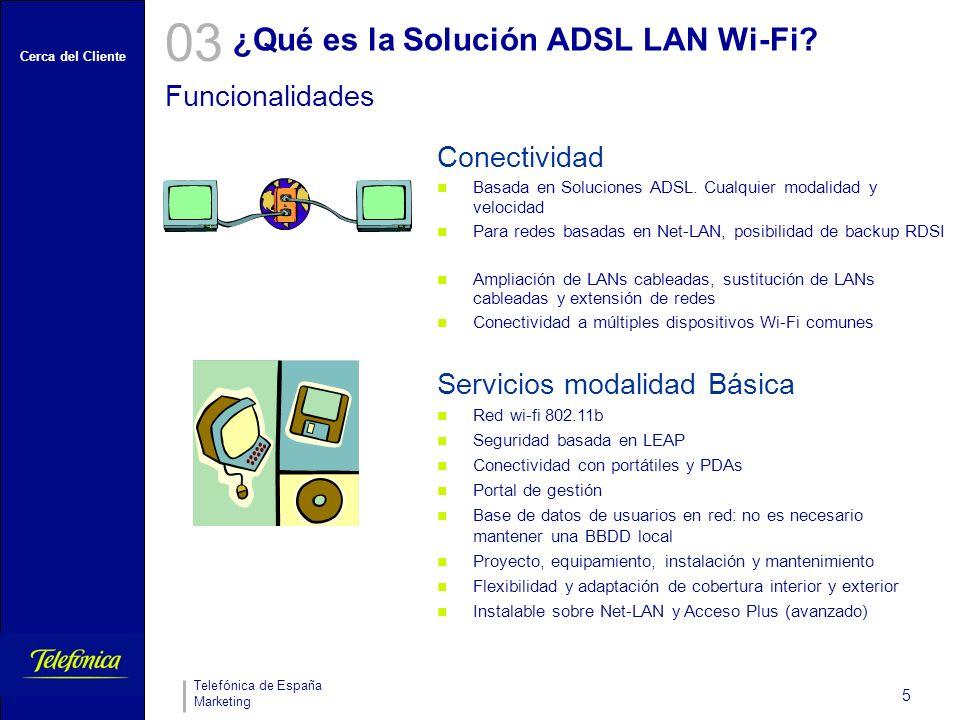Cerca del Cliente Telefónica de España Marketing 5 ¿Qué es la Solución ADSL LAN Wi-Fi.