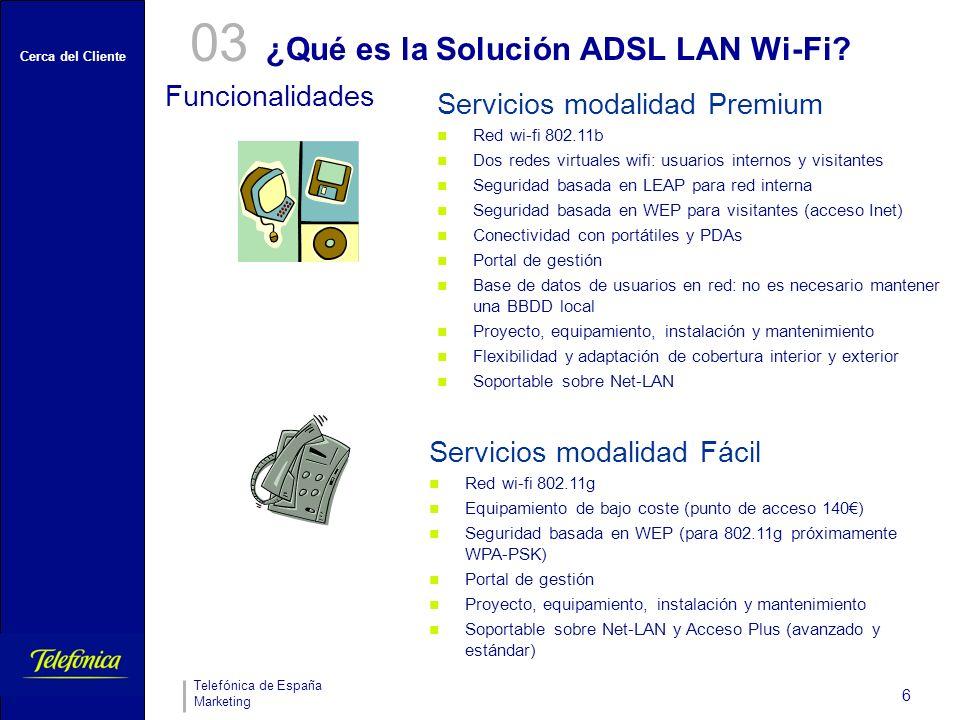 Cerca del Cliente Telefónica de España Marketing 6 ¿Qué es la Solución ADSL LAN Wi-Fi.
