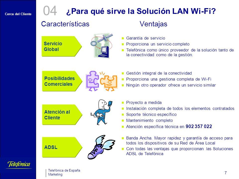 Cerca del Cliente Telefónica de España Marketing 7 ¿Para qué sirve la Solución LAN Wi-Fi.