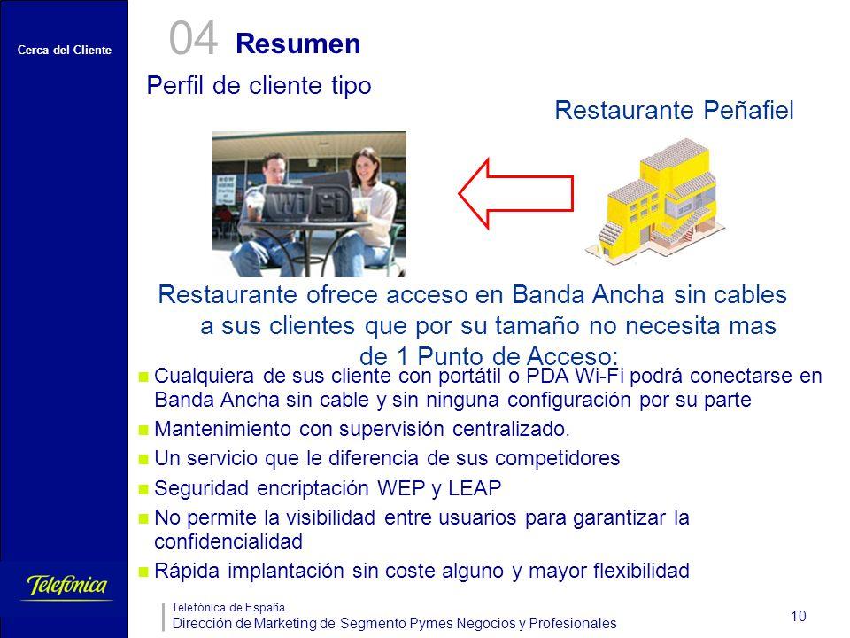 Cerca del Cliente Telefónica de España Dirección de Marketing de Segmento Pymes Negocios y Profesionales 10 Resumen 04 Perfil de cliente tipo Cualquie