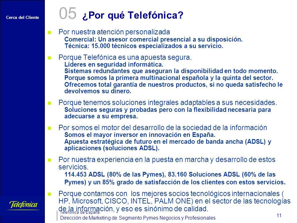 Cerca del Cliente Telefónica de España Dirección de Marketing de Segmento Pymes Negocios y Profesionales 11 ¿Por qué Telefónica? 05 Por nuestra atenci