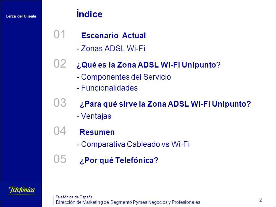 Cerca del Cliente Telefónica de España Dirección de Marketing de Segmento Pymes Negocios y Profesionales 2 Índice 01 Escenario Actual - Zonas ADSL Wi-