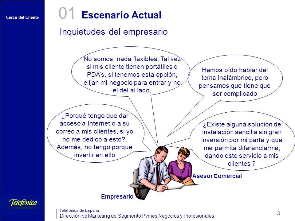 Cerca del Cliente Telefónica de España Dirección de Marketing de Segmento Pymes Negocios y Profesionales 3 Escenario Actual 01 Inquietudes del empresa