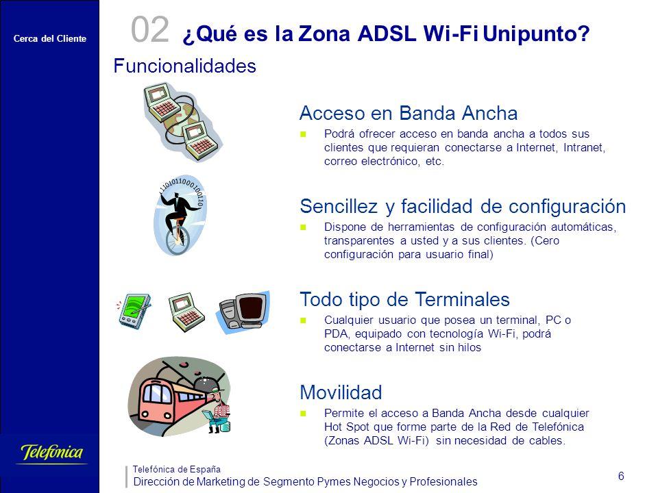 Cerca del Cliente Telefónica de España Dirección de Marketing de Segmento Pymes Negocios y Profesionales 6 ¿Qué es la Zona ADSL Wi-Fi Unipunto? 02 Fun