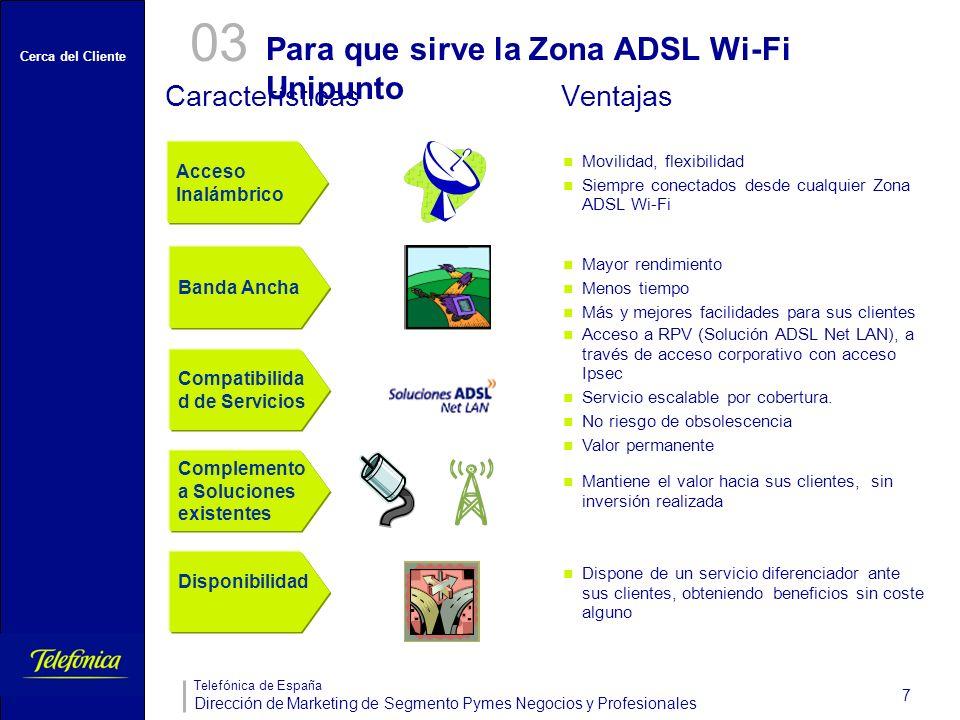Cerca del Cliente Telefónica de España Dirección de Marketing de Segmento Pymes Negocios y Profesionales 7 Para que sirve la Zona ADSL Wi-Fi Unipunto