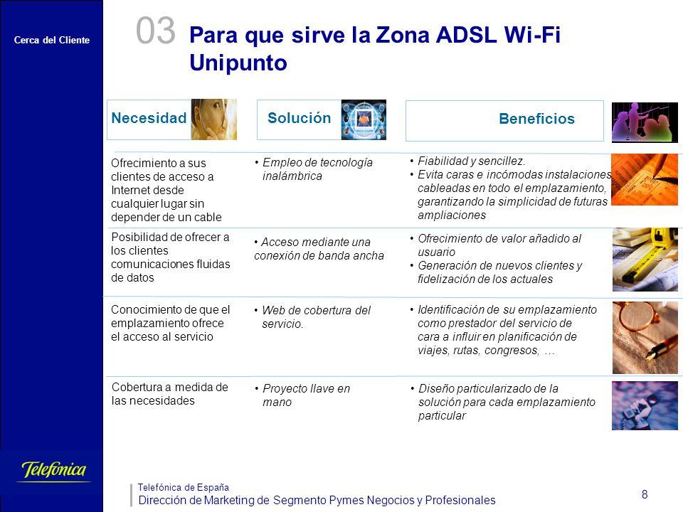 Cerca del Cliente Telefónica de España Dirección de Marketing de Segmento Pymes Negocios y Profesionales 8 NecesidadSolución Ofrecimiento a sus client
