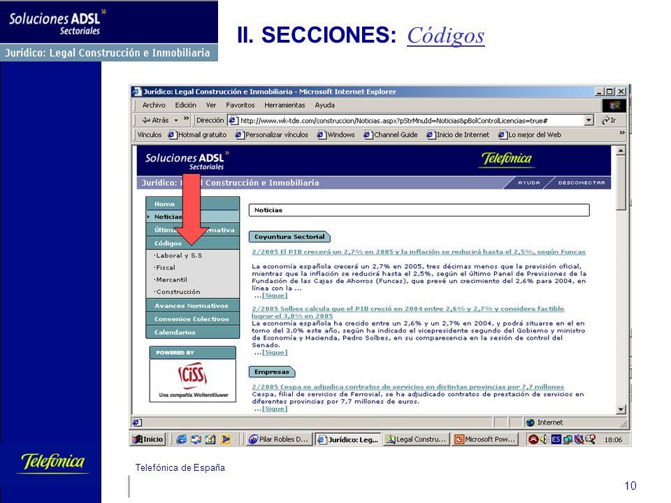 Telefónica de España 10 II. SECCIONES: Códigos