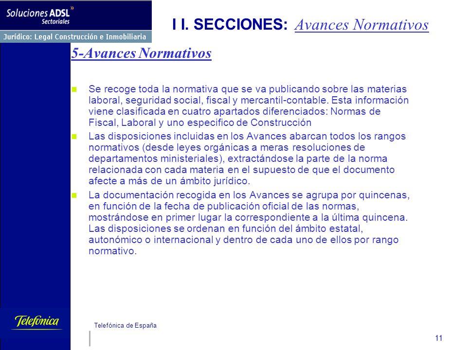 Telefónica de España 11 I I. SECCIONES: Avances Normativos 5-Avances Normativos Se recoge toda la normativa que se va publicando sobre las materias la