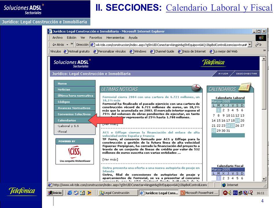 Telefónica de España 4 II. SECCIONES: Calendario Laboral y Fiscal