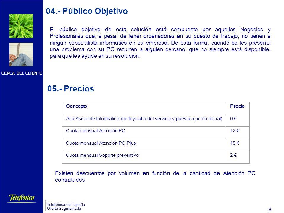 CERCA DEL CLIENTE Telefónica de España Oferta Segmentada 7 03.- Pantallas de la Aplicación (III) Soporte Preventivo Petición de asistencia