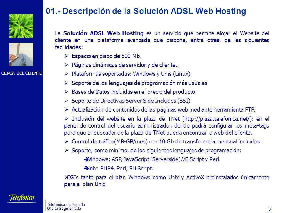 CERCA DEL CLIENTE Telefónica de España Oferta Segmentada 2 01.- Descripción de la Solución ADSL Web Hosting La Solución ADSL Web Hosting es un servicio que permite alojar el Website del cliente en una plataforma avanzada que dispone, entre otras, de las siguientes facilidades: Espacio en disco de 500 Mb.