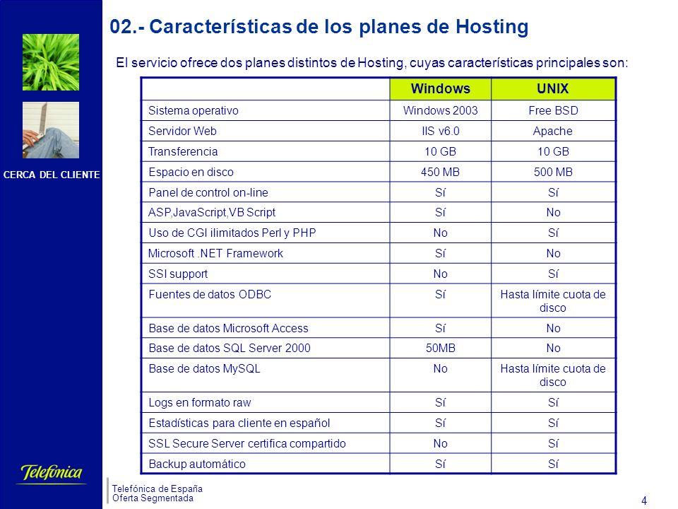 CERCA DEL CLIENTE Telefónica de España Oferta Segmentada 4 s 02.- Características de los planes de Hosting WindowsUNIX Sistema operativoWindows 2003Free BSD Servidor WebIIS v6.0Apache Transferencia10 GB Espacio en disco450 MB500 MB Panel de control on-lineSí ASP,JavaScript,VB ScriptSíNo Uso de CGI ilimitados Perl y PHPNoSí Microsoft.NET FrameworkSíNo SSI supportNoSí Fuentes de datos ODBCSíHasta límite cuota de disco Base de datos Microsoft AccessSíNo Base de datos SQL Server 200050MBNo Base de datos MySQLNoHasta límite cuota de disco Logs en formato rawSí Estadísticas para cliente en españolSí SSL Secure Server certifica compartidoNoSí Backup automáticoSí El servicio ofrece dos planes distintos de Hosting, cuyas características principales son: