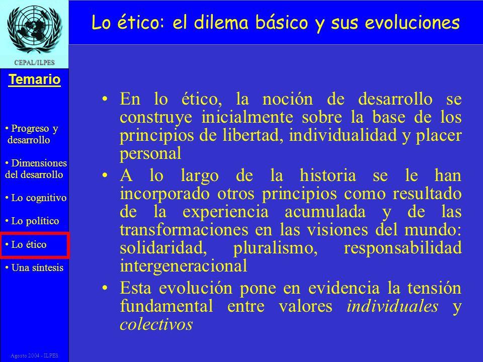 Progreso y desarrollo Dimensiones del desarrollo Lo cognitivo Lo político Lo ético Una síntesis Temario CEPAL/ILPES Agosto 2004 - ILPES Lo ético: el d