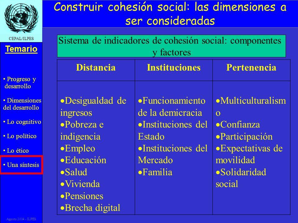 Progreso y desarrollo Dimensiones del desarrollo Lo cognitivo Lo político Lo ético Una síntesis Temario CEPAL/ILPES Agosto 2004 - ILPES Construir cohe