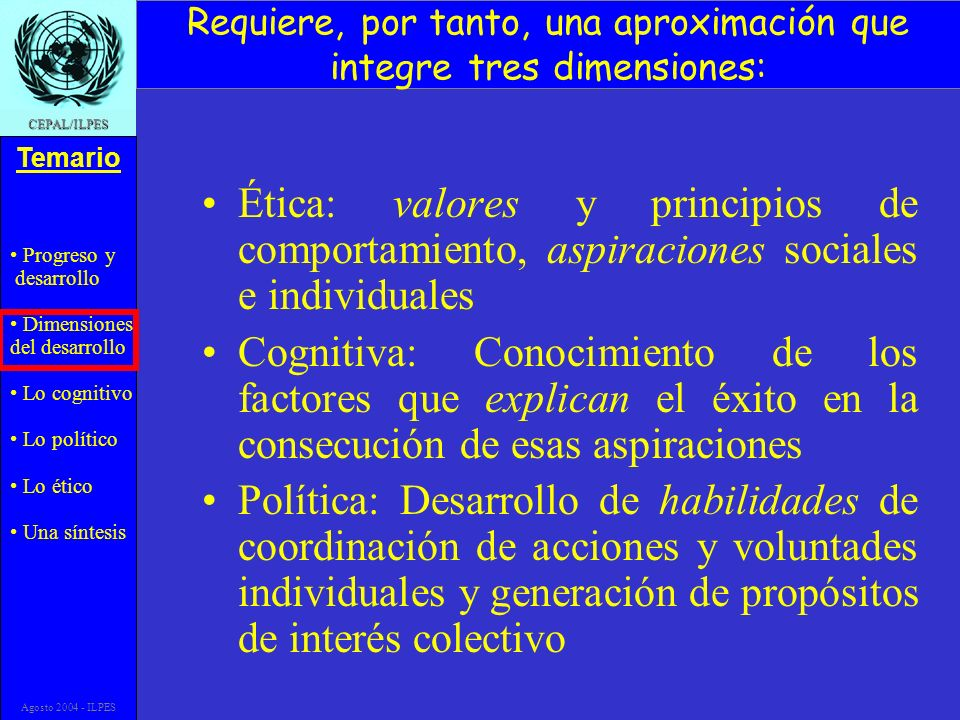Progreso y desarrollo Dimensiones del desarrollo Lo cognitivo Lo político Lo ético Una síntesis Temario CEPAL/ILPES Agosto 2004 - ILPES Requiere, por tanto, una aproximación que integre tres dimensiones: Ética: valores y principios de comportamiento, aspiraciones sociales e individuales Cognitiva: Conocimiento de los factores que explican el éxito en la consecución de esas aspiraciones Política: Desarrollo de habilidades de coordinación de acciones y voluntades individuales y generación de propósitos de interés colectivo