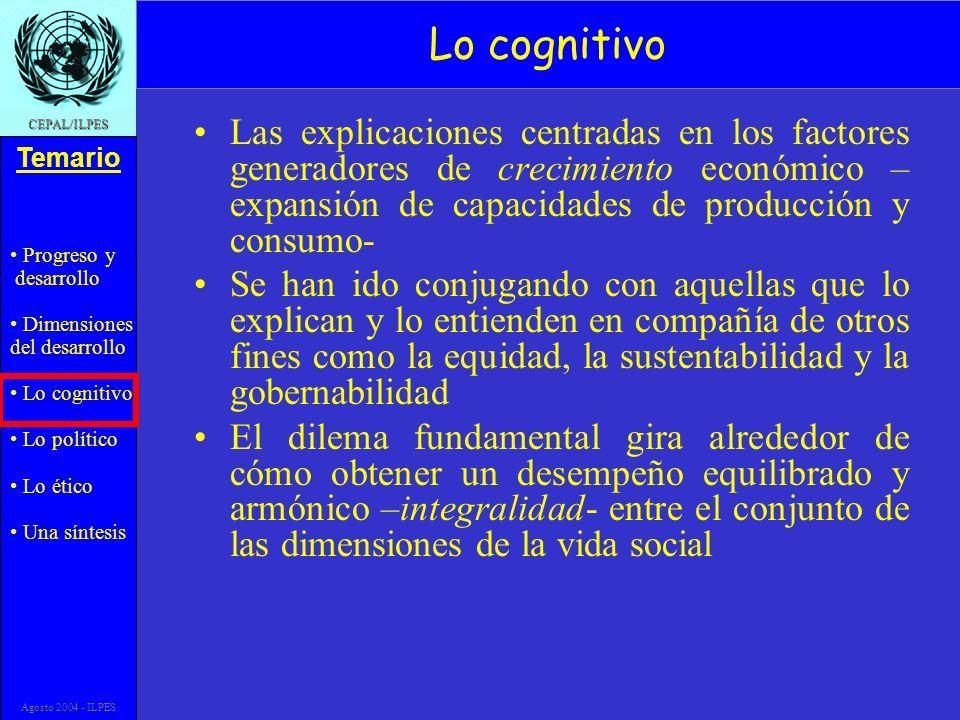 Progreso y desarrollo Dimensiones del desarrollo Lo cognitivo Lo político Lo ético Una síntesis Temario CEPAL/ILPES Agosto 2004 - ILPES Lo cognitivo L