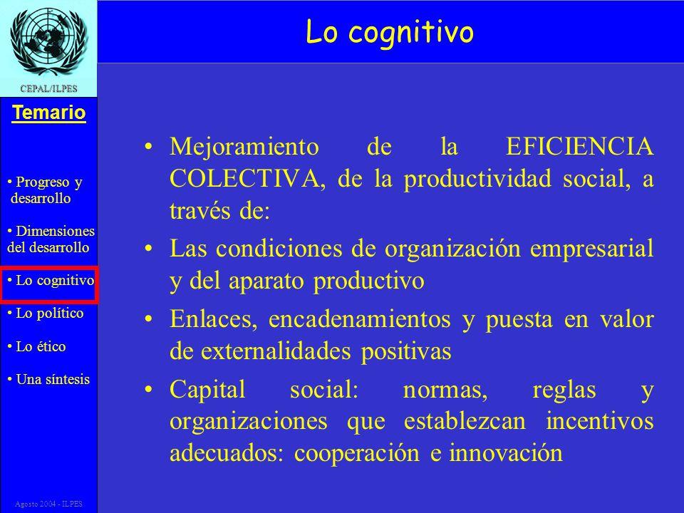 Progreso y desarrollo Dimensiones del desarrollo Lo cognitivo Lo político Lo ético Una síntesis Temario CEPAL/ILPES Agosto 2004 - ILPES Lo cognitivo M