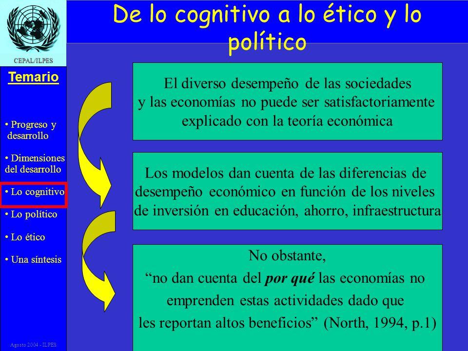 Progreso y desarrollo Dimensiones del desarrollo Lo cognitivo Lo político Lo ético Una síntesis Temario CEPAL/ILPES Agosto 2004 - ILPES El diverso des