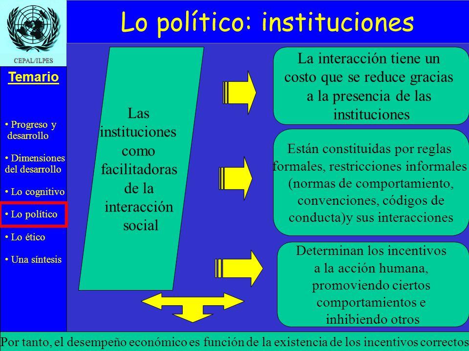 Progreso y desarrollo Dimensiones del desarrollo Lo cognitivo Lo político Lo ético Una síntesis Temario CEPAL/ILPES Agosto 2004 - ILPES Las institucio