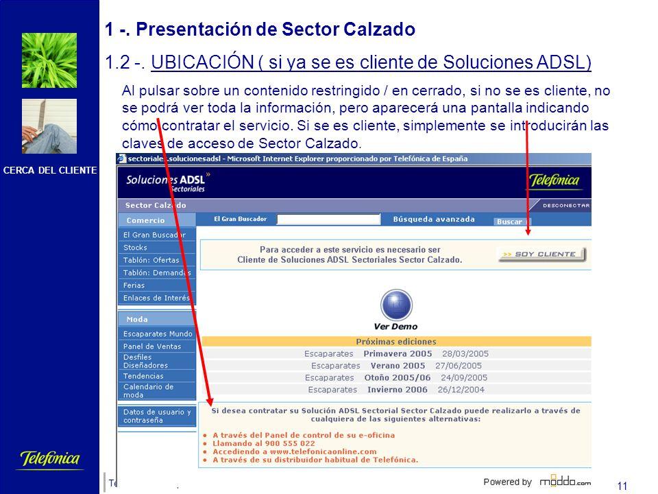 CERCA DEL CLIENTE Telefónica de España 10 1 -. Presentación de Sector Calzado 1.2 -. UBICACIÓN ( si ya se es cliente de Soluciones ADSL) Navegará por