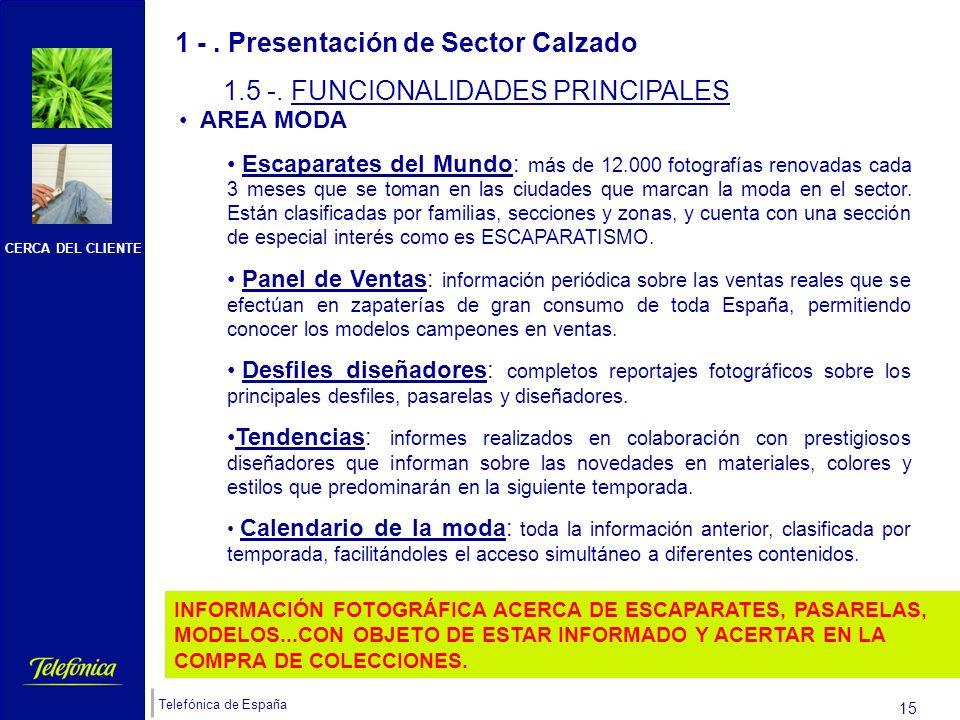 CERCA DEL CLIENTE Telefónica de España 14 1 -. Presentación de Sector Calzado 1.4 -. OBJETIVO DE SECTOR CALZADO Sector CALZADO tiene como OBJETIVO pon