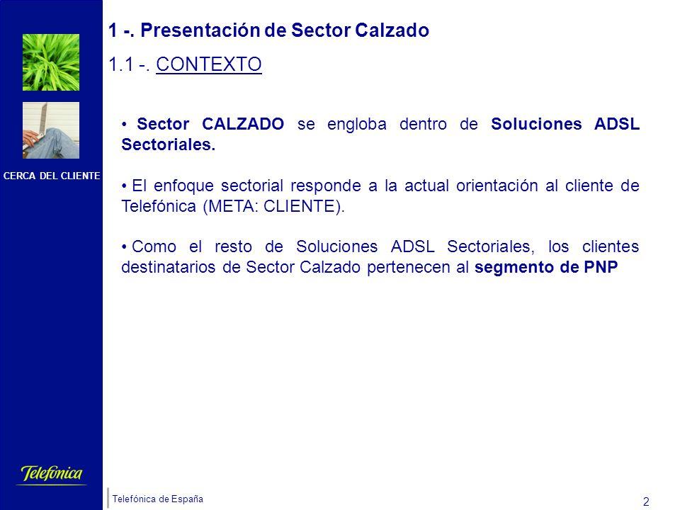 CERCA DEL CLIENTE Telefónica de España 1 Índice 1-. PRESENTACIÓN DE SECTOR CALZADO 1.1-. CONTEXTO 1.2 -. UBICACIÓN 1.3. CLIENTES TIPO 1.4-. OBJETIVO D