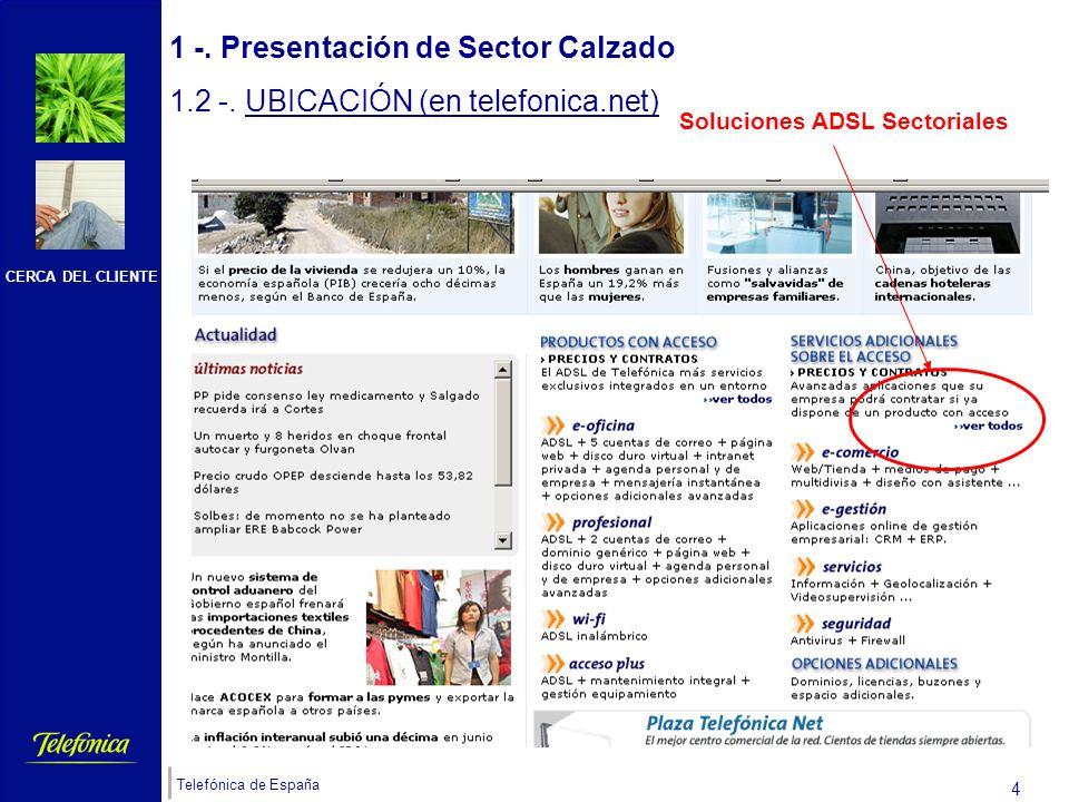 CERCA DEL CLIENTE Telefónica de España 3 1 -. Presentación de Sector Calzado 1.2 -. UBICACIÓN (en telefonica.net) El cliente podrá acceder a Sector CA