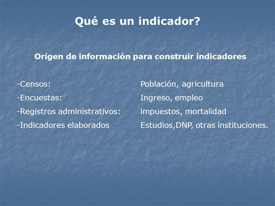 Orígen de información para construir indicadores -Censos: Población, agricultura -Encuestas:Ingreso, empleo -Registros administrativos:impuestos, mort
