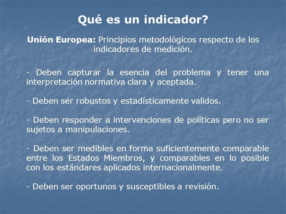 Unión Europea: Principios metodológicos respecto de los indicadores de medición. - Deben capturar la esencia del problema y tener una interpretación n