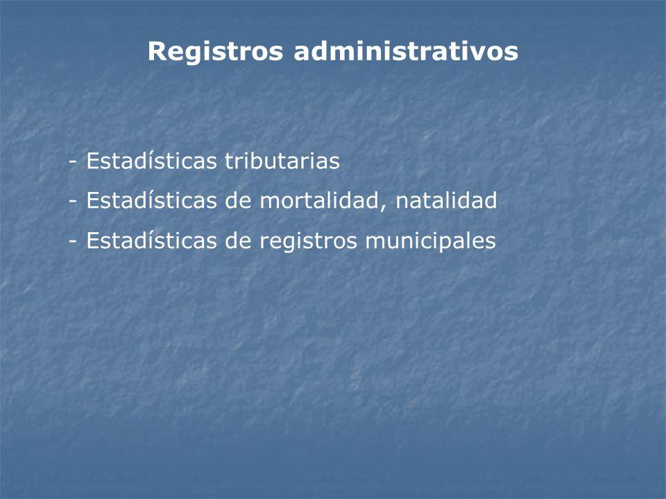 Registros administrativos - Estadísticas tributarias - Estadísticas de mortalidad, natalidad - Estadísticas de registros municipales