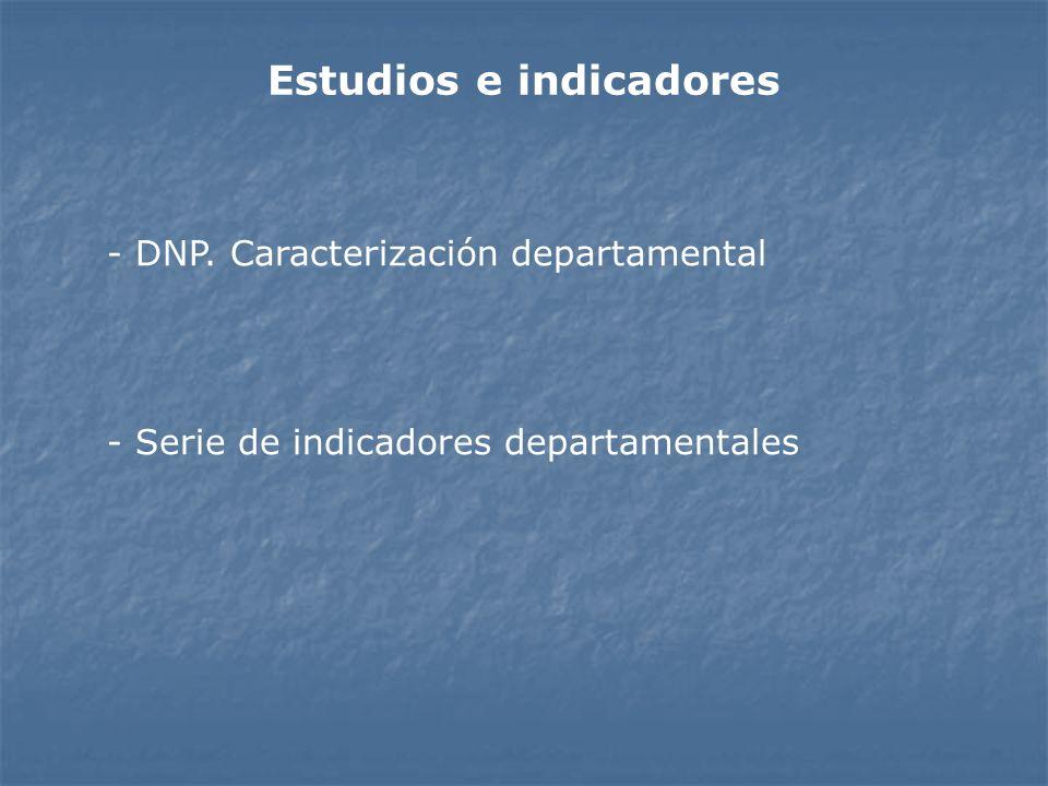 Estudios e indicadores - DNP. Caracterización departamental - Serie de indicadores departamentales