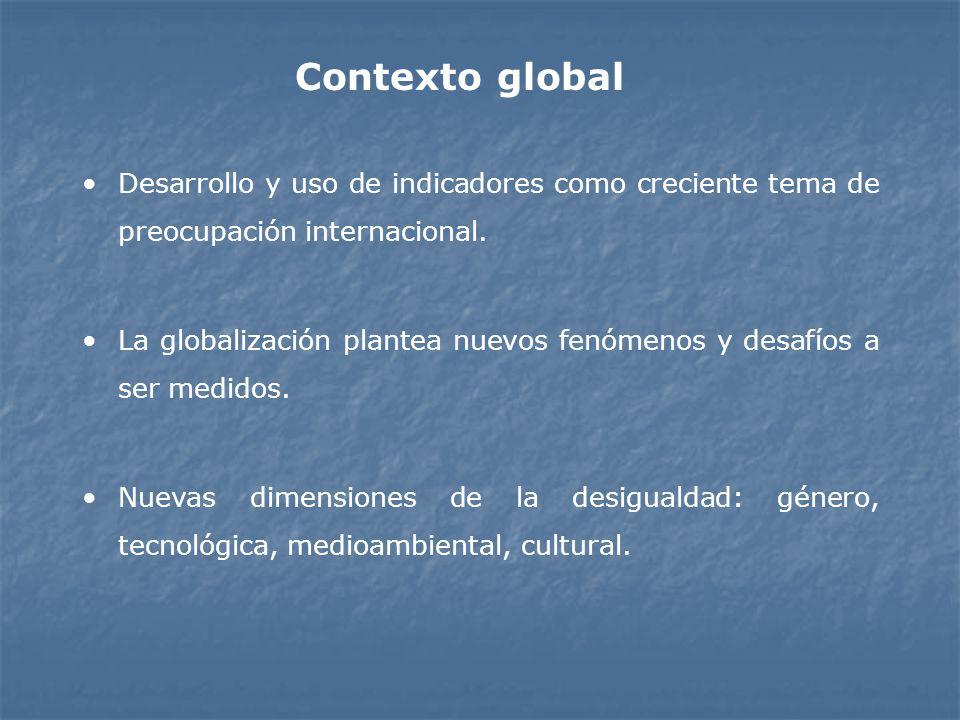 Desarrollo y uso de indicadores como creciente tema de preocupación internacional. La globalización plantea nuevos fenómenos y desafíos a ser medidos.