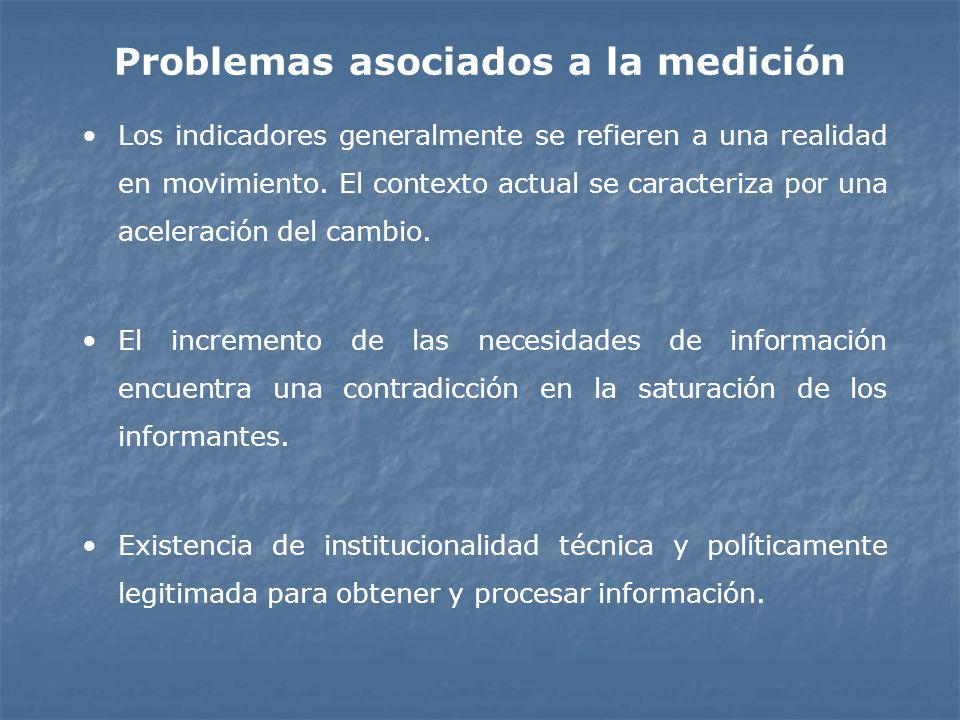 Problemas asociados a la medición Los indicadores generalmente se refieren a una realidad en movimiento. El contexto actual se caracteriza por una ace