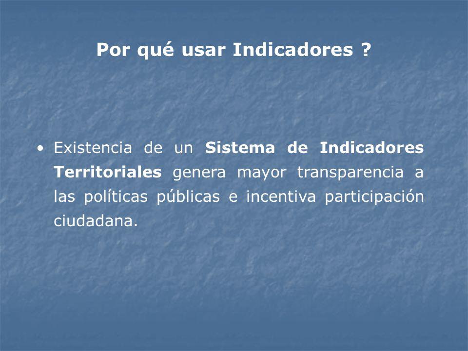 Por qué usar Indicadores ? Existencia de un Sistema de Indicadores Territoriales genera mayor transparencia a las políticas públicas e incentiva parti
