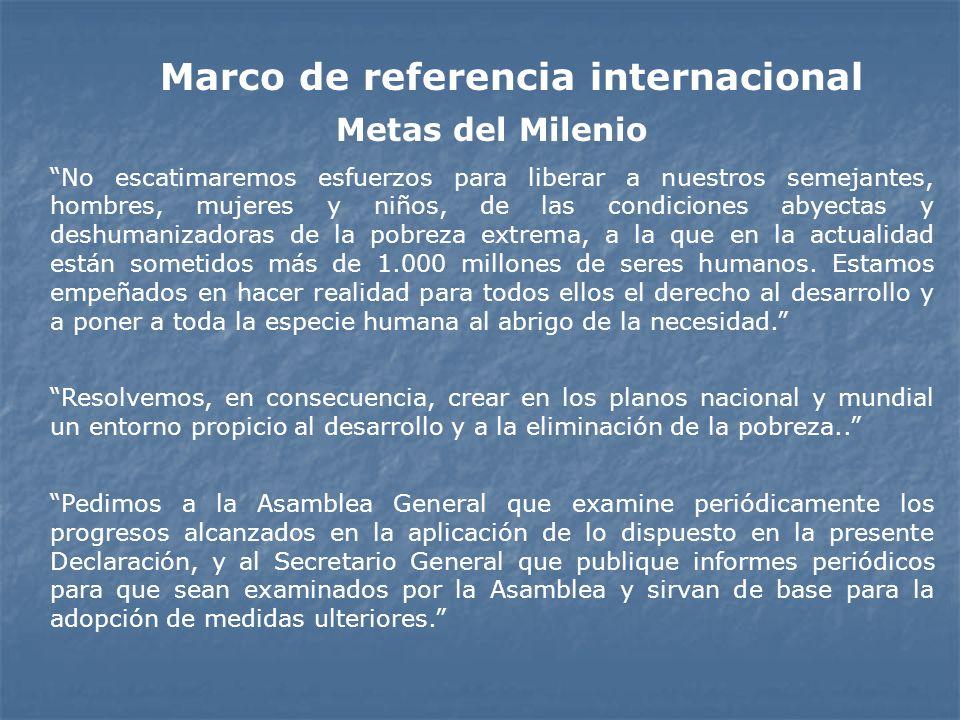 Marco de referencia internacional Metas del Milenio No escatimaremos esfuerzos para liberar a nuestros semejantes, hombres, mujeres y niños, de las co