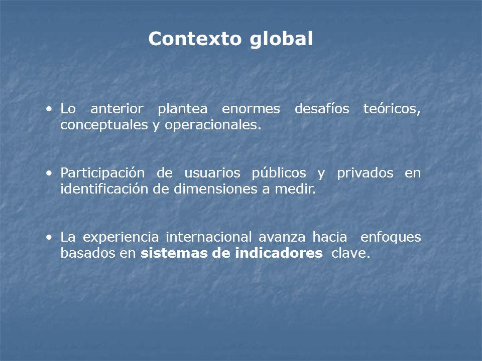Lo anterior plantea enormes desafíos teóricos, conceptuales y operacionales. Participación de usuarios públicos y privados en identificación de dimens